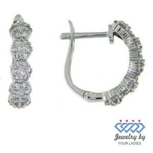 White Gold Cluster Floral Huggies Diamond Earrings